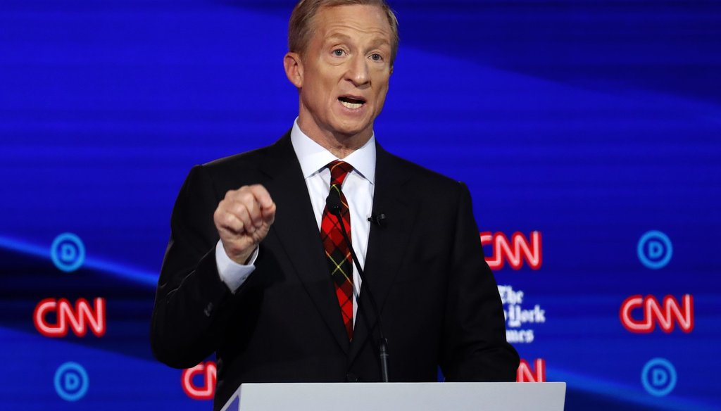 Businessman Tom Steyer answers a question during a Democratic presidential primary debate hosted by CNN/New York Times at Otterbein University on Oct. 15, 2019, in Westerville, Ohio. (AP)