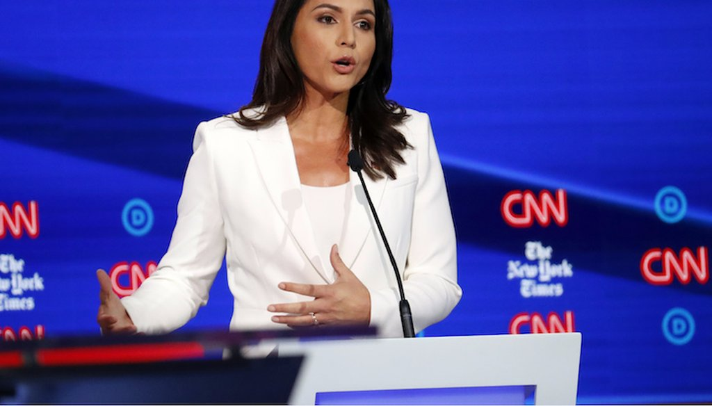 U.S. Rep. Tulsi Gabbard, D-Hawaii, participates in a Democratic presidential primary debate hosted by CNN/New York Times at Otterbein University, Oct. 15, 2019, in Westerville, Ohio.