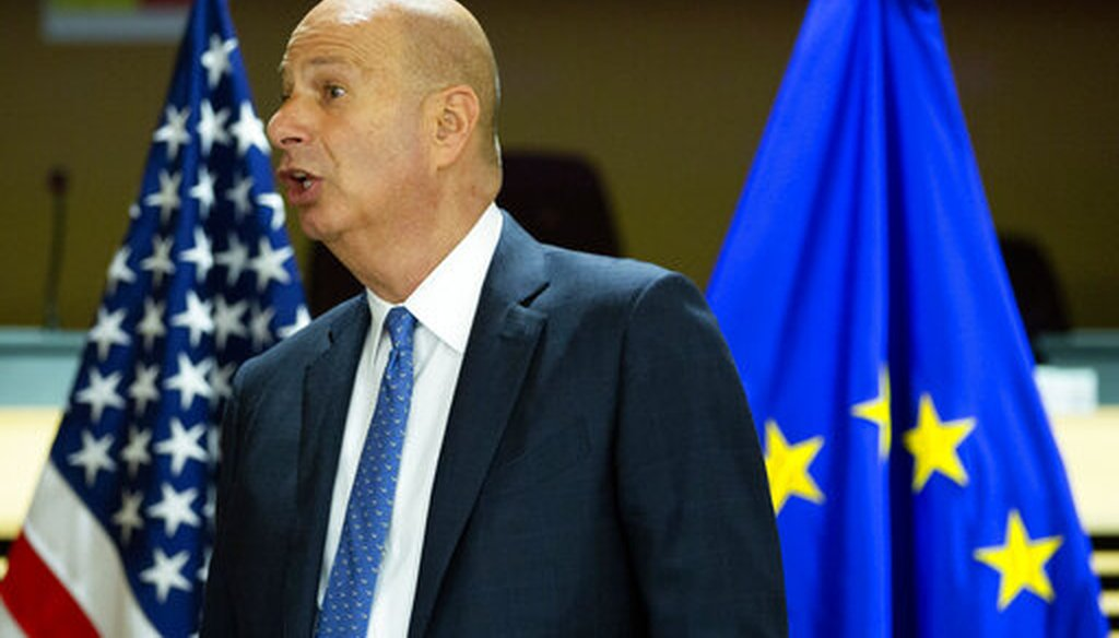 United States Ambassador to the European Union Gordon Sondland attends the High Level Forum on Small Modular Reactors at EU headquarters in Brussels, Oct. 21, 2019. (AP/Virginia Mayo)