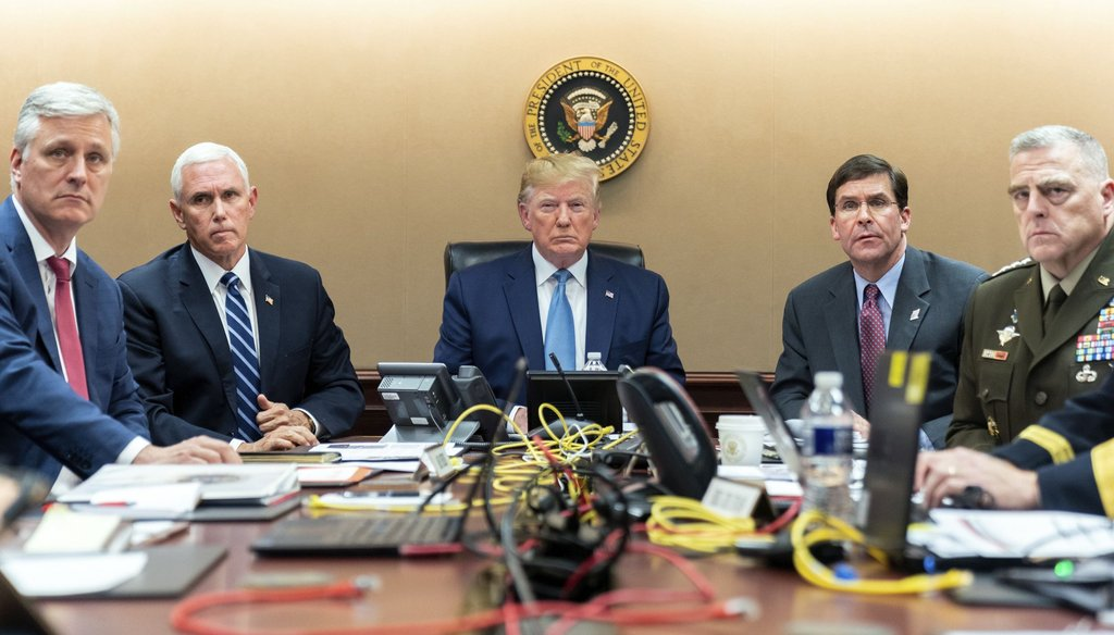 In this image released by the White House, President Donald Trump is joined by Vice President Mike Pence, second from left, and national security officials in the Situation Room of the White House on Oct. 26, 2019. (AP)