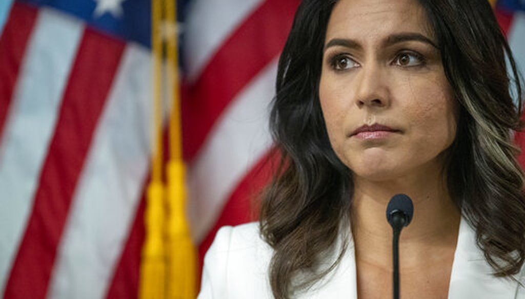 Rep. Tulsi Gabbard, D-Hawaii, speaks during a news conference at the 9/11 Tribute Museum in New York on Oct. 29, 2019. (AP/Altaffer)