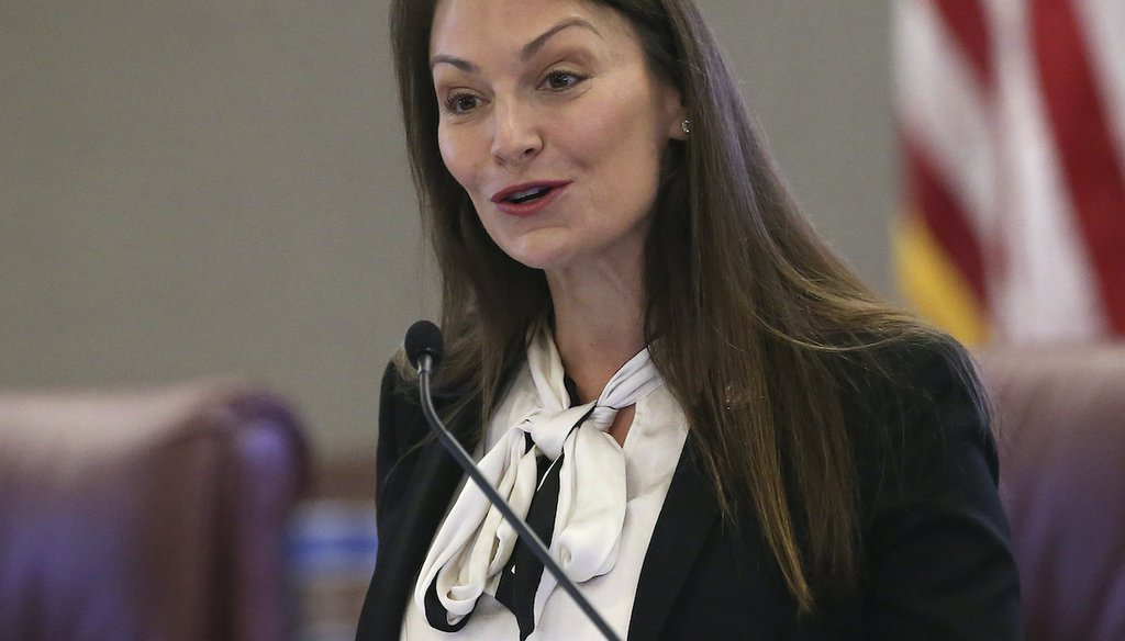 Agriculture commissioner Nikki Fried speaks at pre-legislative news conference on Tuesday Oct. 29, 2019, in Tallahassee, Fla. (AP/Steve Cannon)