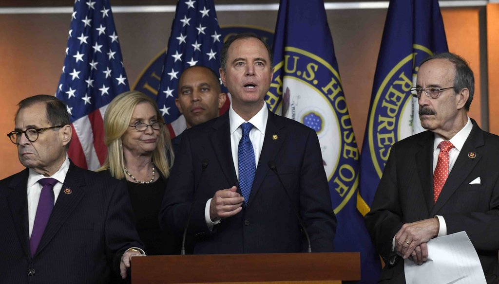 House Intelligence Committee Chairman Adam Schiff, D-Calif., second from right, speaks during a news conference on Capitol Hill in Washington on Oct. 31, 2019. (AP)