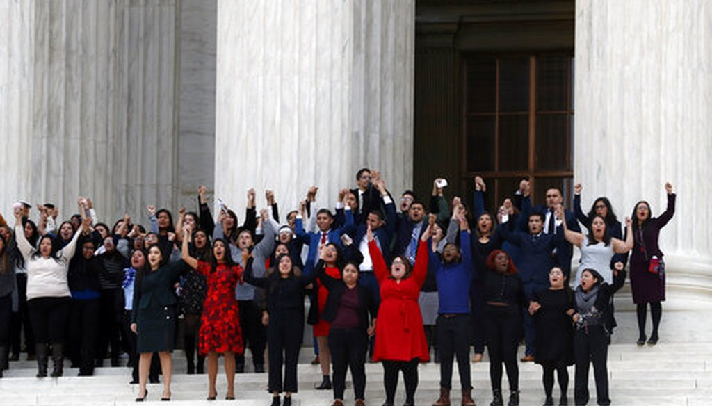 DACA recipients and others leave the Supreme Court after oral arguments were heard in the case of President Trump's decision to end the Obama-era, Deferred Action for Childhood Arrivals program (DACA), Nov. 12, 2019. (AP/Jacquelyn Martin)