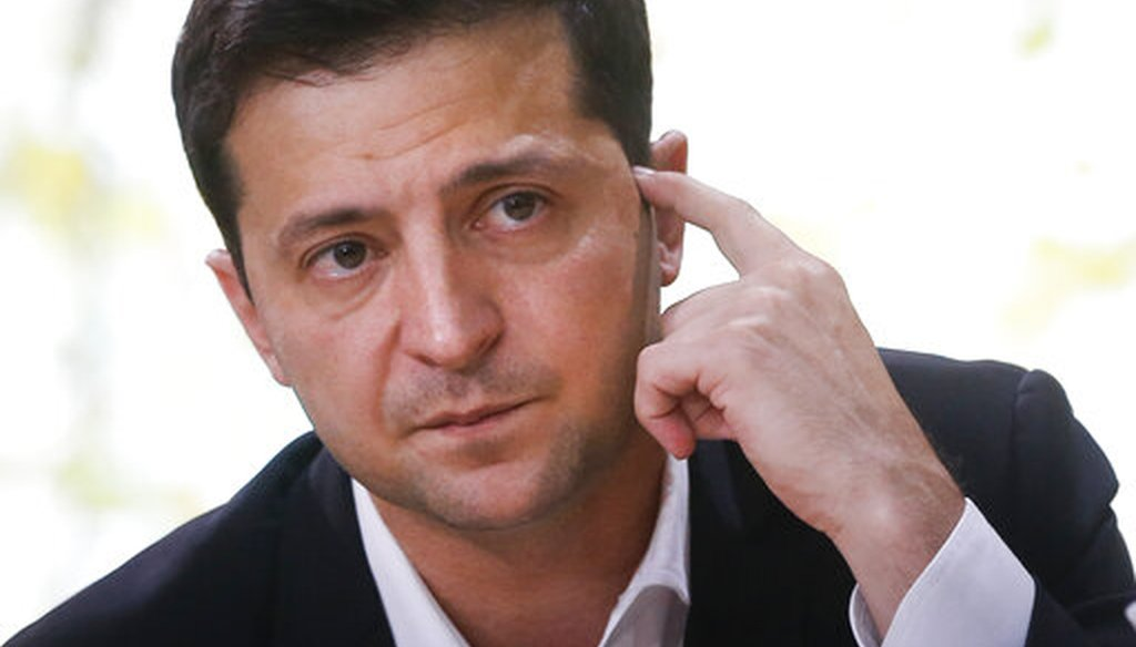 Ukrainian President Volodymyr Zelenskiy  talks with journalists in Kyiv, Ukraine, on Oct. 10, 2019. (AP/Lukatsky)