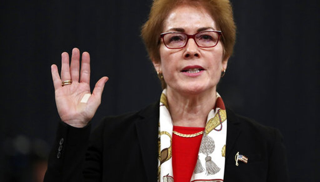 Former U.S. Ambassador to Ukraine Marie Yovanovitch is sworn in to testify to the House Intelligence Committee on Capitol Hill in Washington, Friday, Nov. 15, 2019. (AP)