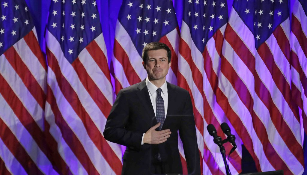In this Nov. 11, 2019, file photo, Democratic presidential candidate South Bend, Ind. Mayor Pete Buttigieg reacts to applause after delivering a Veterans Day address during a campaign event in Rochester, N.H. (AP)