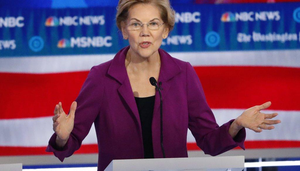 Democratic presidential candidate Sen. Elizabeth Warren, D-Mass., speaks during a Democratic presidential primary debate on Nov. 20, 2019, in Atlanta. (AP)