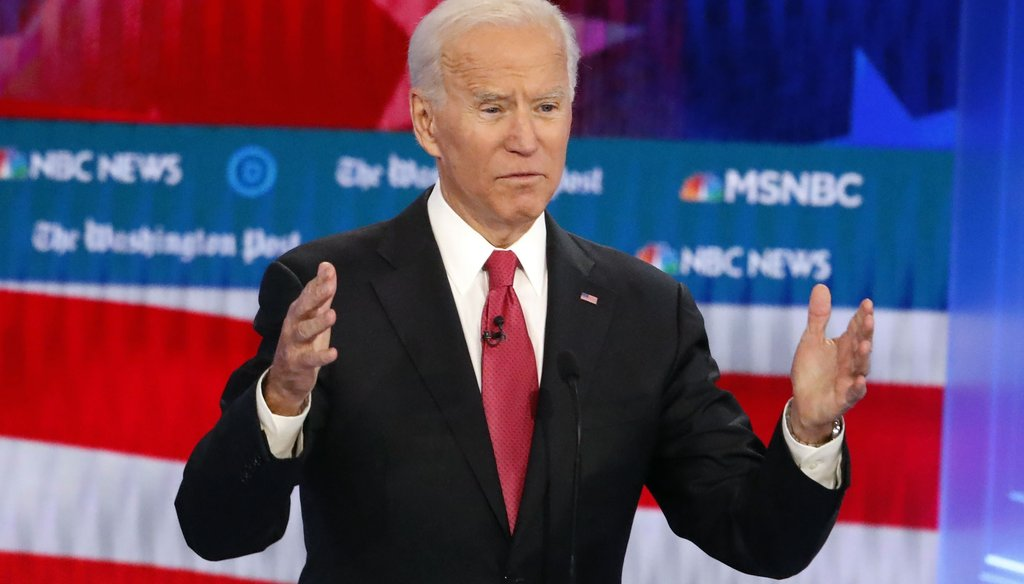 Democratic presidential candidate former Vice President Joe Biden speaks during a Democratic presidential primary debate on Nov. 20, 2019, in Atlanta. (AP)