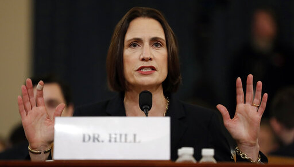 Former White House national security aide Fiona Hill testifies on Nov. 21, 2019. (AP)