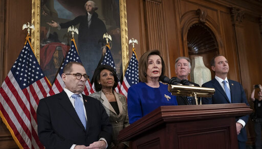 Speaker of the House Nancy Pelosi, D-Calif., joined by other Democratic leaders, announces that the House is pushing ahead with two articles of impeachment against President Donald Trump on Dec. 10, 2019. (AP)