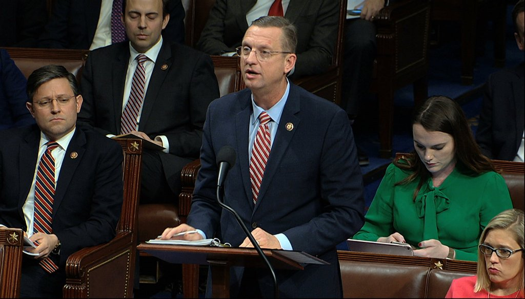 House Judiciary Committee ranking member Rep. Doug Collins, R-Ga., speaks as the House of Representatives debates the articles of impeachment against President Donald Trump at the Capitol in Washington on Dec. 18, 2019. (House Television via AP)