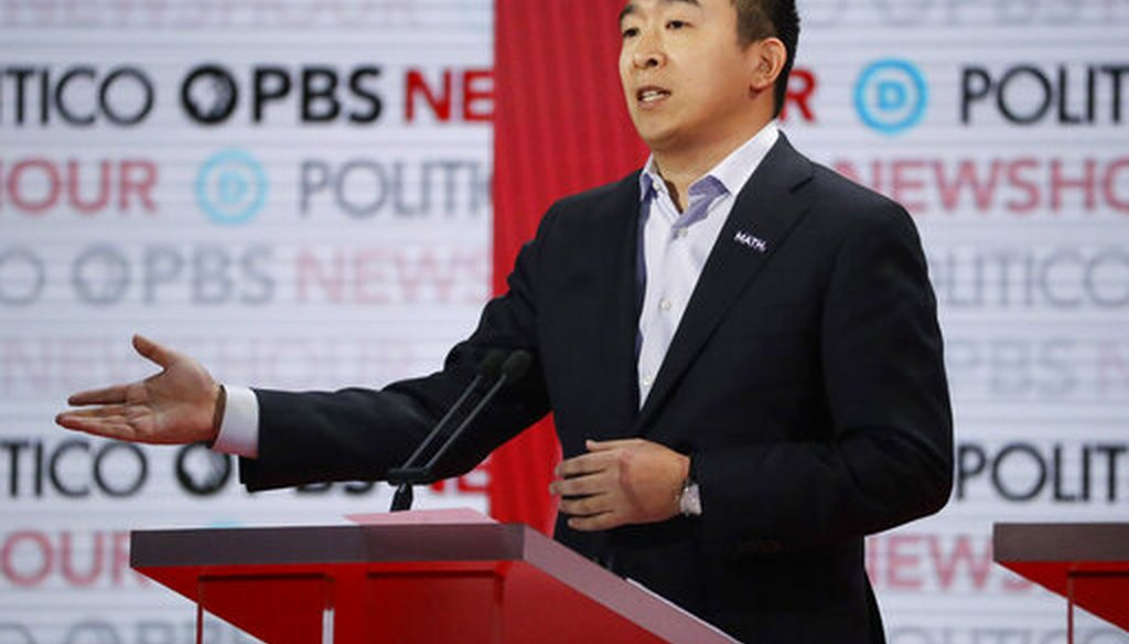 Democratic presidential candidate Andrew Yang speaks during a Democratic primary debate on Dec. 19, 2019, in Los Angeles. (AP/Carlson)