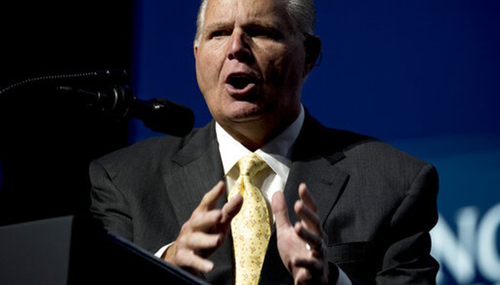 Radio host Rush Limbaugh introduces President Donald Trump at the Turning Point USA Student Action Summit on Dec. 21, 2019, in West Palm Beach, Fla. (AP/Harnik)