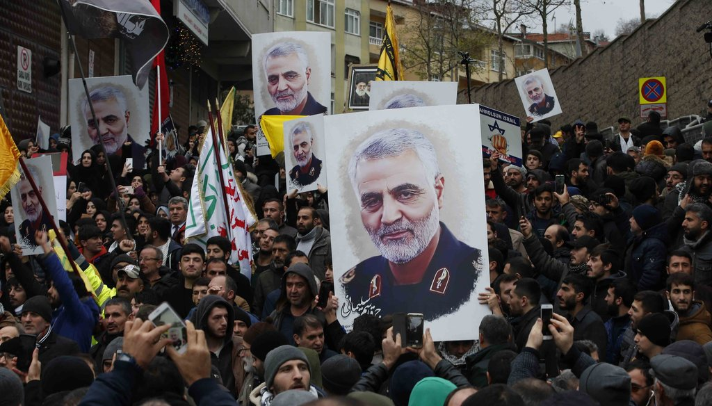 Protesters gather during a demonstration against the killing of Iranian Revolutionary Guard Gen. Qassem Soleimani, close to United States' consulate in Istanbul on Jan. 5, 2020. (AP)