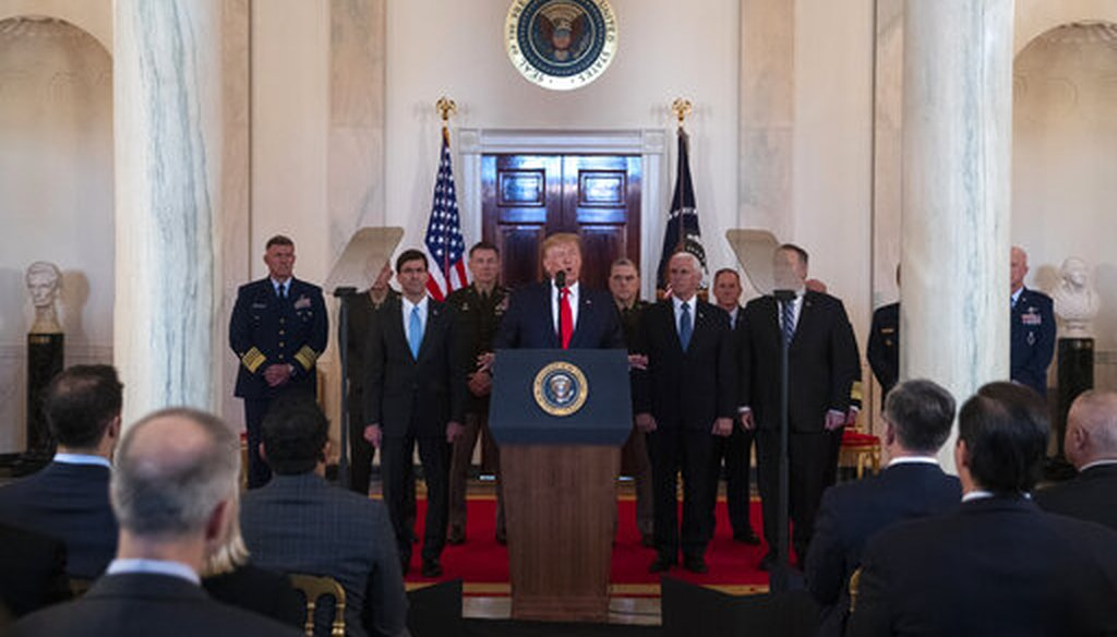 President Donald Trump addresses the nation from the White House on the ballistic missile strike that Iran launched against Iraqi air bases housing U.S. troops, Jan. 8, 2020. (AP/ Evan Vucci)