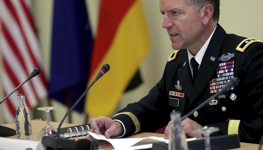 U.S. Army Europe Deputy Commanding General Andrew M. Rohling addresses the media during a press conference in Berlin, Jan. 14, 2020, on the Defender 2020 military exercise.
