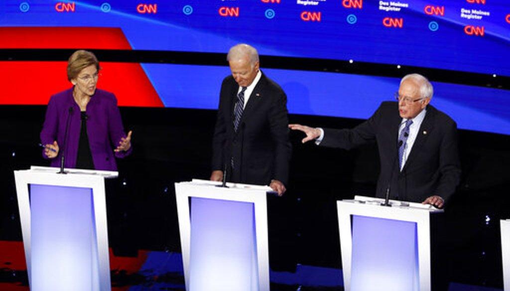 Democratic presidential candidates Elizabeth Warren, Bernie Sanders, and Joe Biden debate in Des Moines, Iowa, on Jan. 14, 2020. (AP)