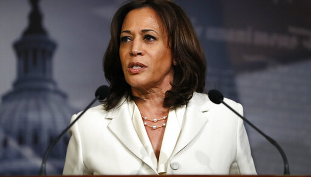 Sen. Kamala Harris, D-Calif., speaks during a news conference talking about the impeachment trial of President Donald Trump on charges of abuse of power and obstruction of Congress, Jan. 16, 2020. (AP/Julio Cortez)