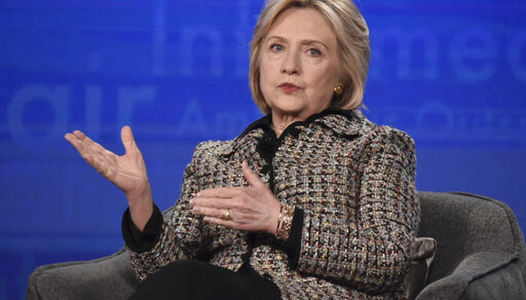 """Hillary Clinton participates in the Hulu """"Hillary"""" panel during the Winter 2020 Television Critics Association Press Tour, Jan. 17, 2020, in Pasadena, Calif. (Richard Shotwell/Invision/AP)"""