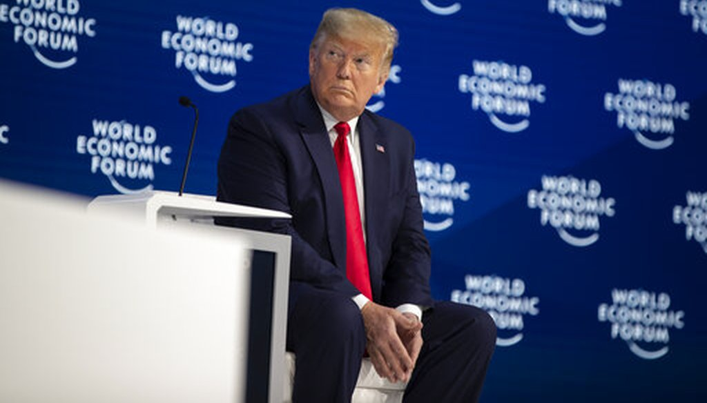 President Donald Trump on stage at the World Economic Forum on Jan. 21, 2020, in Davos, Switzerland. (AP/Vucci)