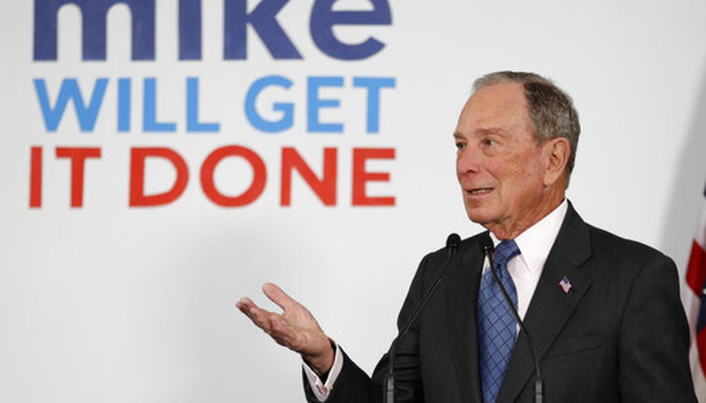 Democratic presidential candidate and former New York City Mayor Michael Bloomberg speaks to supporters at a campaign office in Scarborough, Maine, on Jan. 27, 2020. (AP/Bukaty)