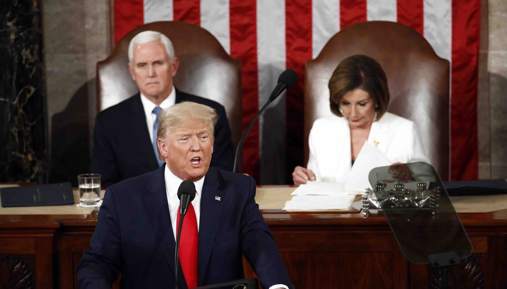 President Donald Trump delivers his State of the Union address to a joint session of Congress on Capitol Hill in Washington on Feb. 4, 2020, as Vice President Mike Pence and House Speaker Nancy Pelosi, D-Calif., watch. (AP)