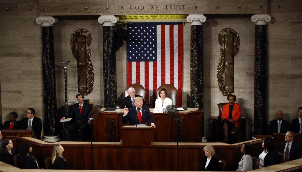 President Donald Trump delivers his State of the Union address to a joint session of Congress on Capitol Hill in Washington on Feb. 4, 2020. (AP)