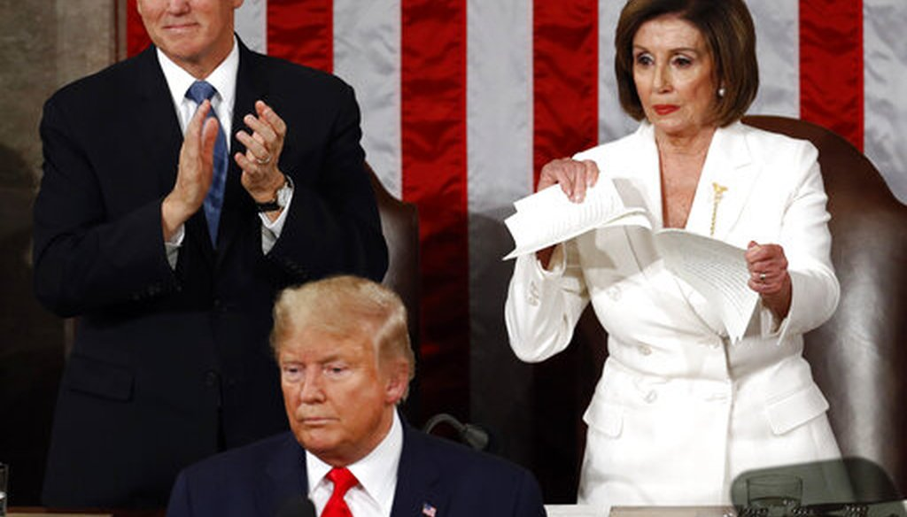 House Speaker Nancy Pelosi, D-Calif., tears her copy of President Donald Trump's State of the Union address after he delivered it to Congress on Feb. 4, 2020, in Washington. (AP/Semansky)