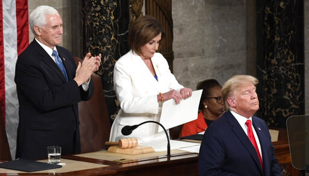 House Speaker Nancy Pelosi, D-Calif., tears her copy of President Donald Trump's State of the Union address after he delivered it to Congress on Feb. 4, 2020, in Washington. (AP/Walsh)