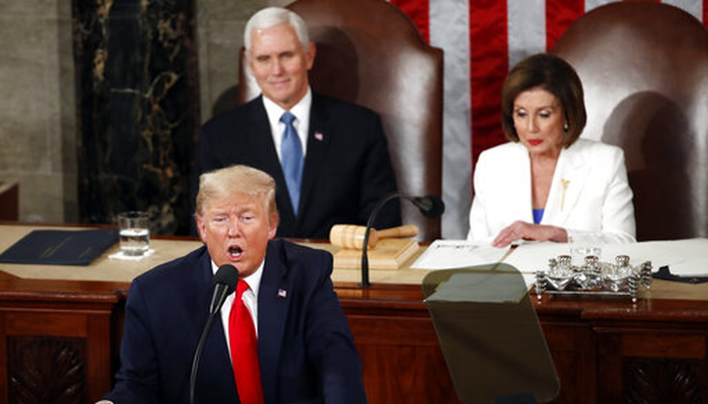 President Donald Trump delivers his State of the Union address to Congress on Capitol Hill in Washington on Feb. 4, 2020. (AP/Brandon)