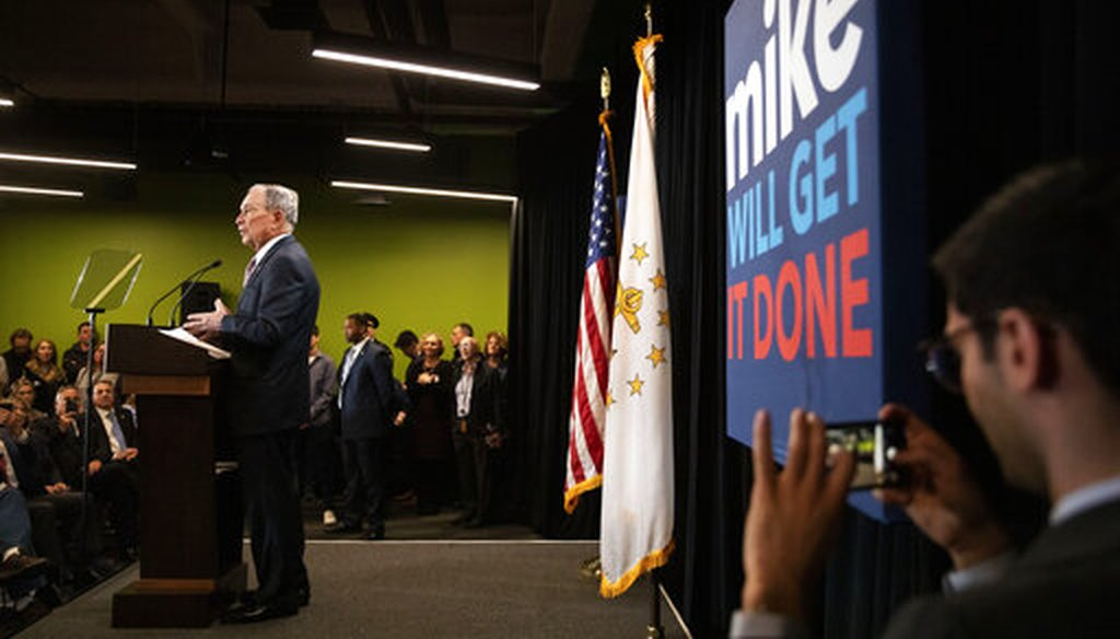 Democratic presidential candidate and former New York City Mayor Michael Bloomberg speaks at a campaign event, Feb. 5, 2020, in Providence, R.I. (AP/David Goldman)