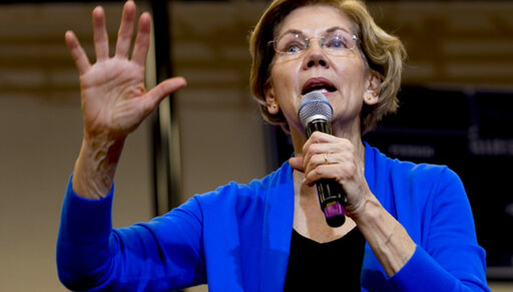 Democratic presidential candidate Elizabeth Warren at a campaign stop in Nashua, N.H., on Feb. 5, 2020. (AP)
