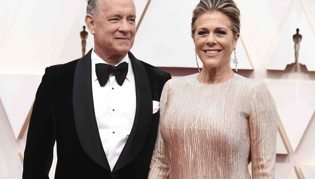 Tom Hanks, left, and Rita Wilson arrive at the Oscars on Feb. 9, 2020, at the Dolby Theatre in Los Angeles. (AP)