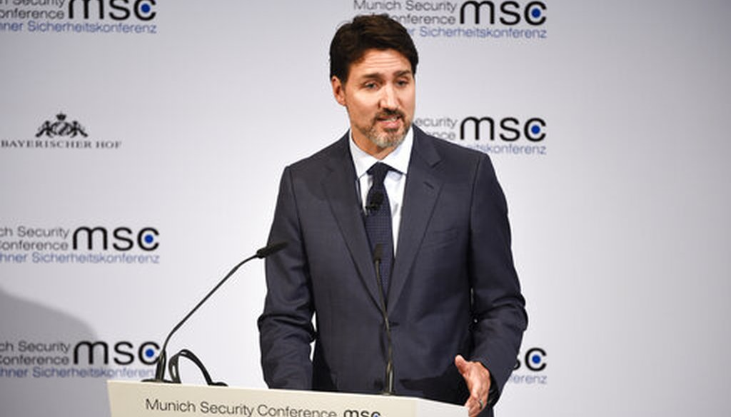 Canadian Prime Minister Justin Trudeau speaks during the Munich Security Conference in Munich, Germany, on Feb. 14, 2020. (AP/Meyer)