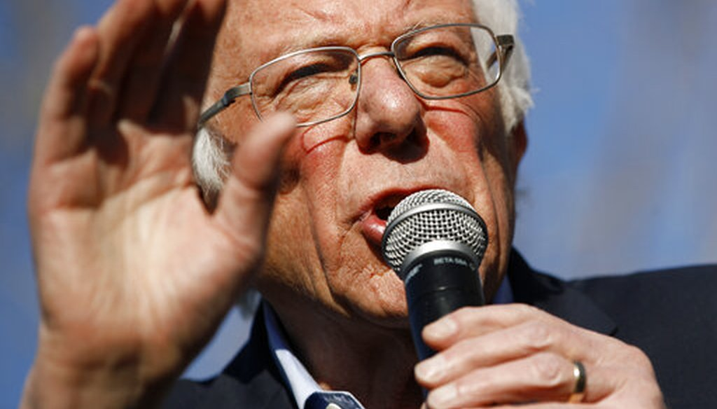 Democratic presidential candidate Bernie Sanders at a campaign event at the University of Nevada-Las Vegas on Feb. 18, 2020. (AP)