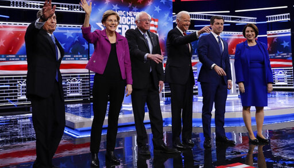 Democratic presidential candidates Michael Bloomberg, Elizabeth Warren, Bernie Sanders, Joe Biden, Pete Buttigieg and Amy Klobuchar before a debate in Las Vegas. (AP)