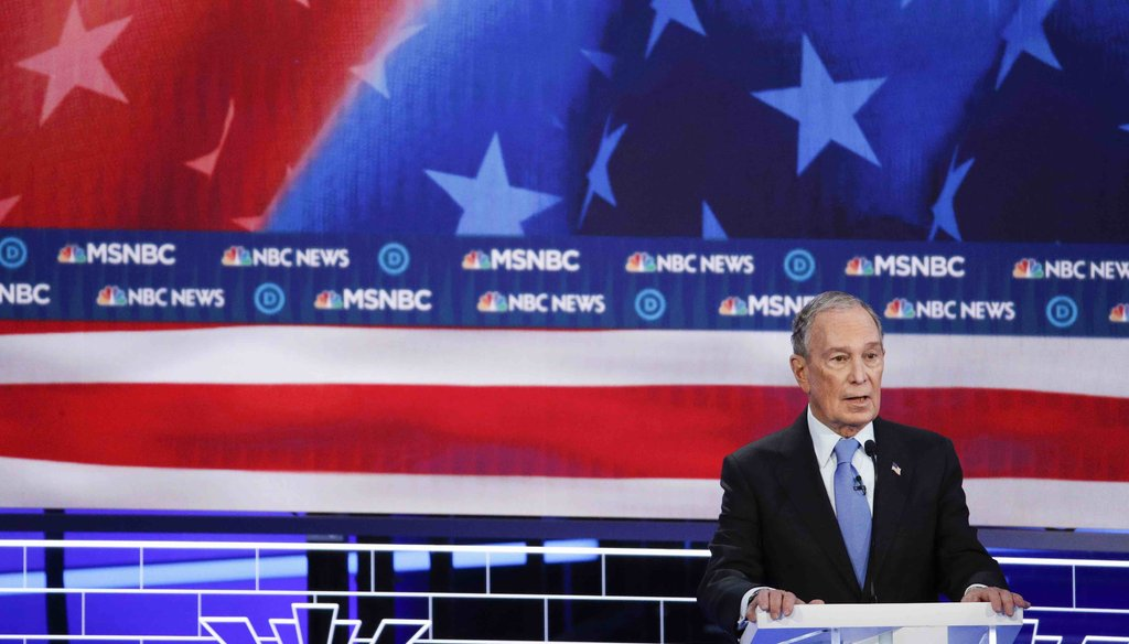 Democratic presidential candidates, former New York City Mayor Mike Bloomberg speaks during a Democratic presidential primary debate on Feb. 19, 2020, in Las Vegas, hosted by NBC News and MSNBC. (AP)