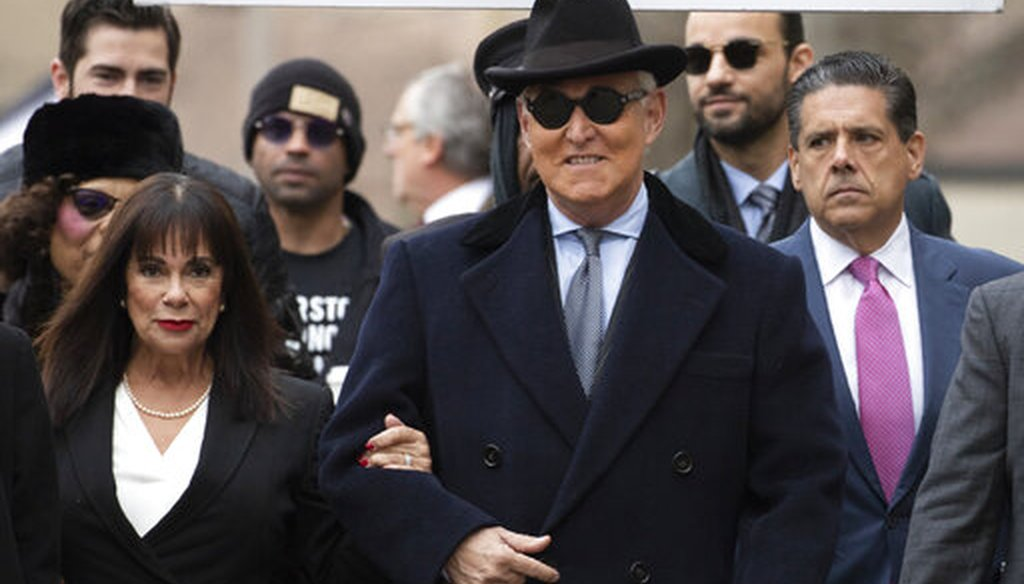 Roger Stone and his wife Nydia Stone arrive for sentencing at U.S. District Court in Washington, D.C., on Feb. 20, 2020. (AP)