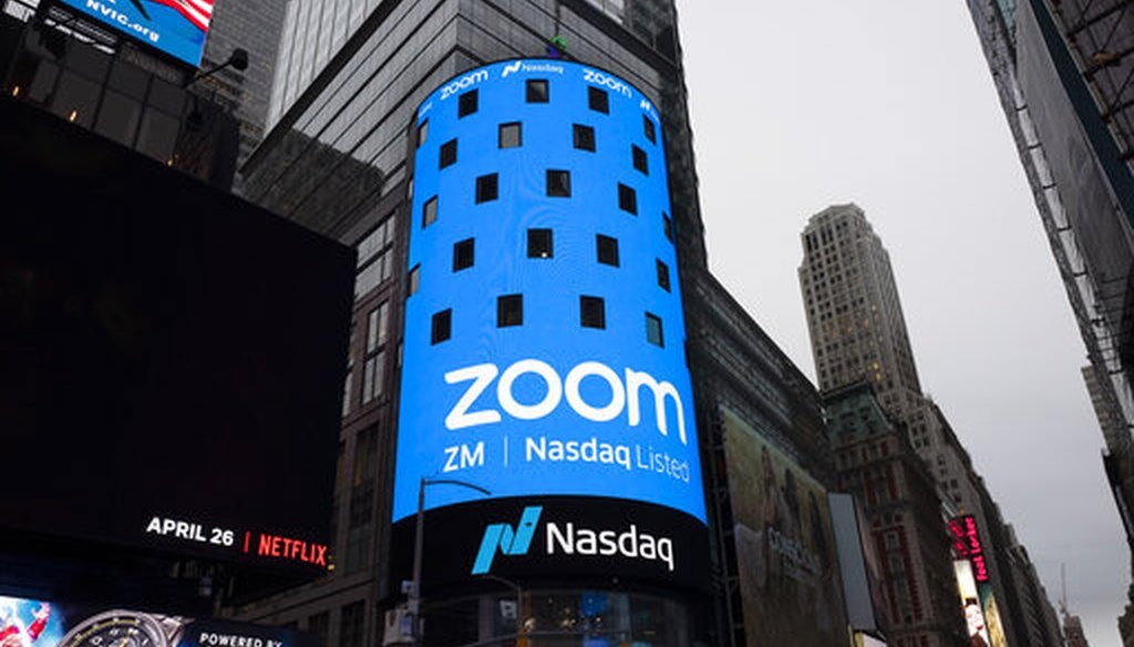 A sign for Zoom Video Communications is shown in New York on April 18, 2019. (AP/Lennihan)