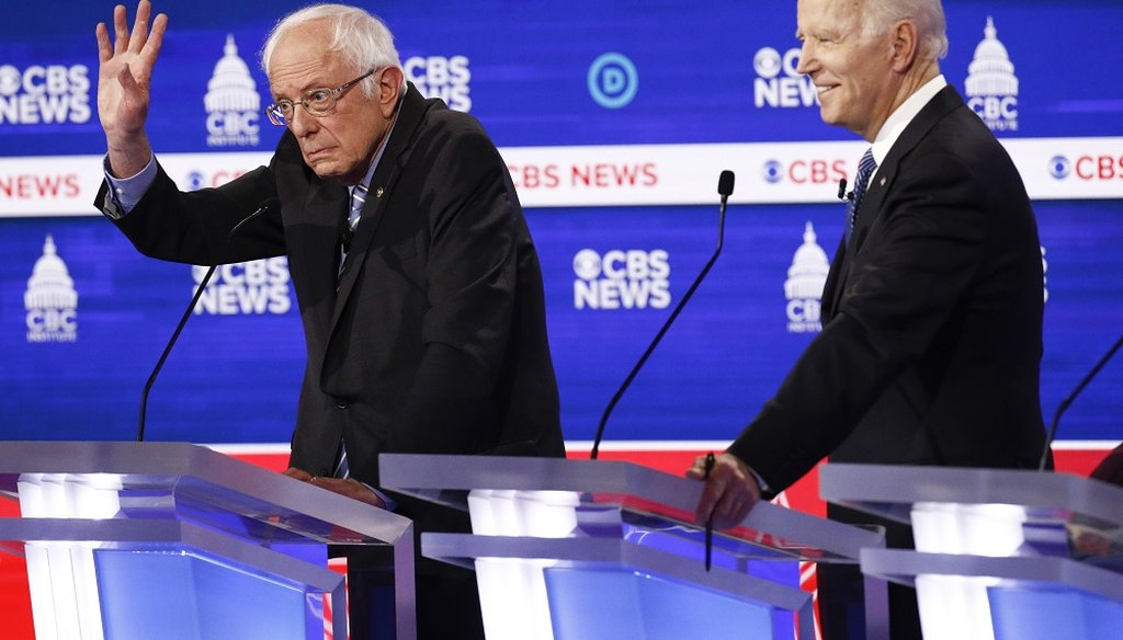 Democratic presidential candidates Bernie Sanders and Joe Biden participate in a Democratic debate on Feb. 25, 2020, in Charleston, S.C. (AP)