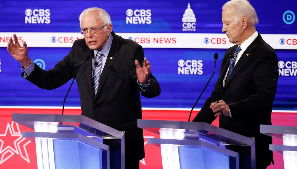 Democratic presidential candidates Bernie Sanders, and Joe Biden participate in a Democratic presidential primary debate on Feb. 25, 2020, in Charleston, S.C. (AP)