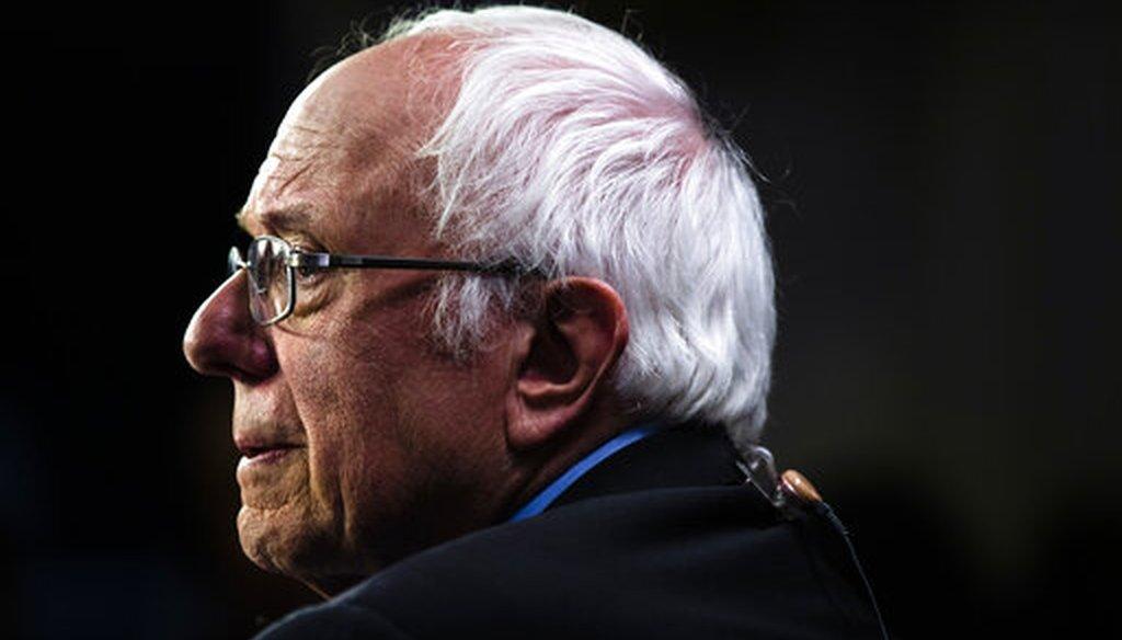 Democratic presidential candidate Sen. Bernie Sanders, I-Vt., speaks with members of the media after the Democratic primary debate on Feb. 25, 2020, in Charleston, S.C. (AP/Rourke)