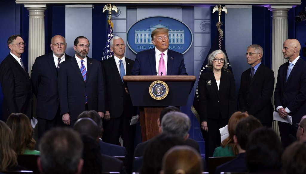 President Donald Trump with members of the president's coronavirus task force speaks during a news conference in the Brady Press Briefing Room of the White House on Feb. 26, 2020, in Washington. (AP)
