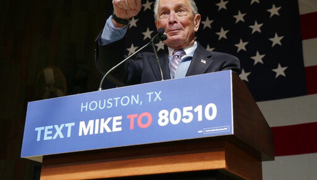 Democratic presidential candidate Mike Bloomberg speaks during a rally in Houston on Feb. 27, 2020. (AP)