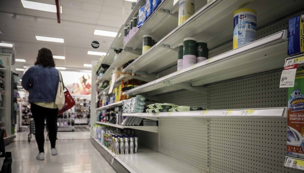 In this March 3, 2020 file photo, empty shelves for disinfectant wipes wait for restocking, as concerns grow around COVID-19, in New York. (AP)
