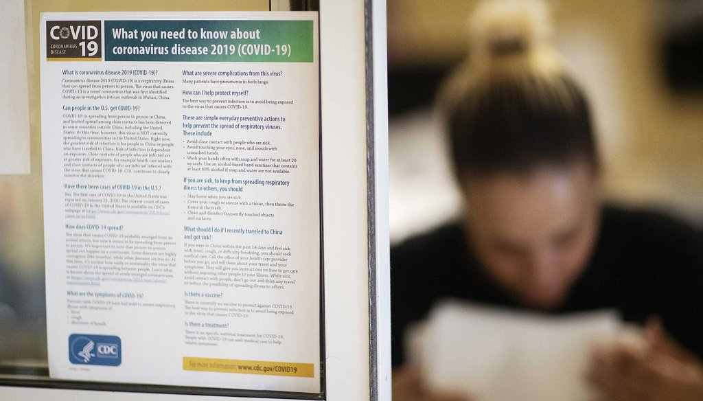 In this March 6, 2020, photo, an information sheet on the new coronavirus is posted in the lobby of the South Shore Rehabilitation and Skilled Care Center, in Rockland, Mass. (AP)