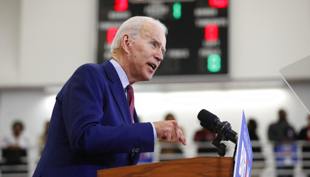 Democratic presidential candidate Joe Biden speaks during a campaign rally at Renaissance High School in Detroit, ahead of Michigan's March 10 primary. (AP)