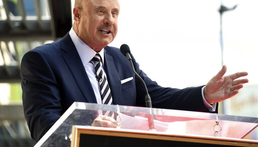 Dr. Phil McGraw speaks during a ceremony awarding him with a star on the Hollywood Walk of Fame in Los Angeles on Feb. 21, 2020. (AP/Pizzello)