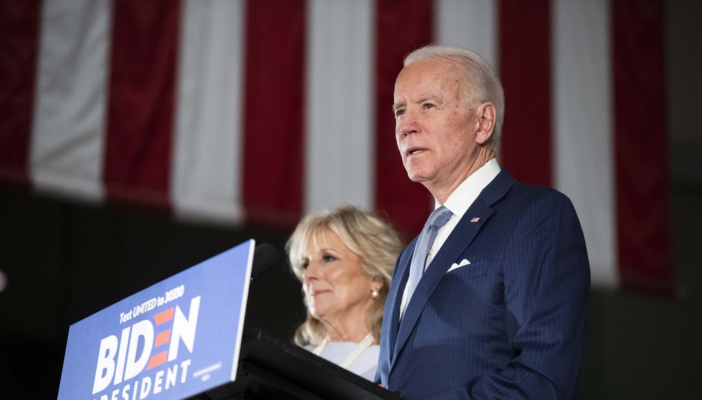 Democratic presidential candidate former Vice President Joe Biden, accompanied by his wife Jill, speaks to members of the press at the National Constitution Center in Philadelphia on March 10, 2020. (AP)